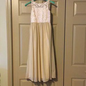 Cream Floor-Length Dress Girls Size 8
